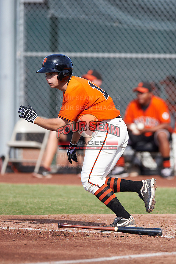 San Francisco Giants minor league outfielder Tyler Hollick #12 during an instructional league game against the Kansas City Royals at the Giants Baseball Complex on October 18, 2012 in Scottsdale, Arizona. (Mike Janes/Four Seam Images)