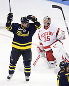 Brandon Brodhag (Merrimack - 12) celebrates his goal, fifth of the season. - The Boston University Terriers defeated the Merrimack College Warriors 6-4 on Saturday, November 14, 2009, at Agganis Arena in Boston, Massachusetts.