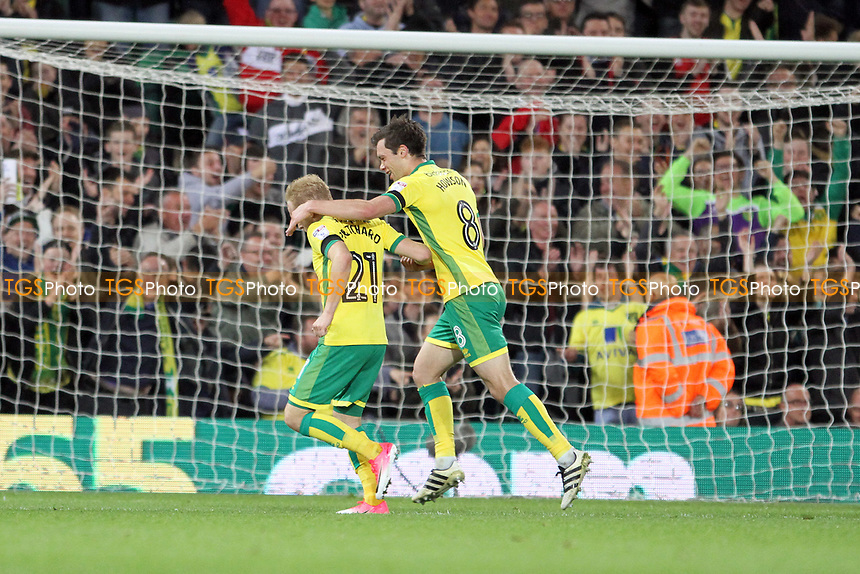 Alex Pritchard of Norwich City celebrates the second goal with Jonathan Howson of Norwich City during Norwich City vs Brighton & Hove Albion, Sky Bet EFL Championship Football at Carrow Road on 21st April 2017