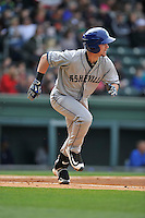 Infielder Brendan Rodgers (1) of the Asheville Tourists runs toward first base in a game against the Greenville Drive on Sunday, April 10, 2016, at Fluor Field at the West End in Greenville, South Carolina. Greenville won, 7-4. (Tom Priddy/Four Seam Images)