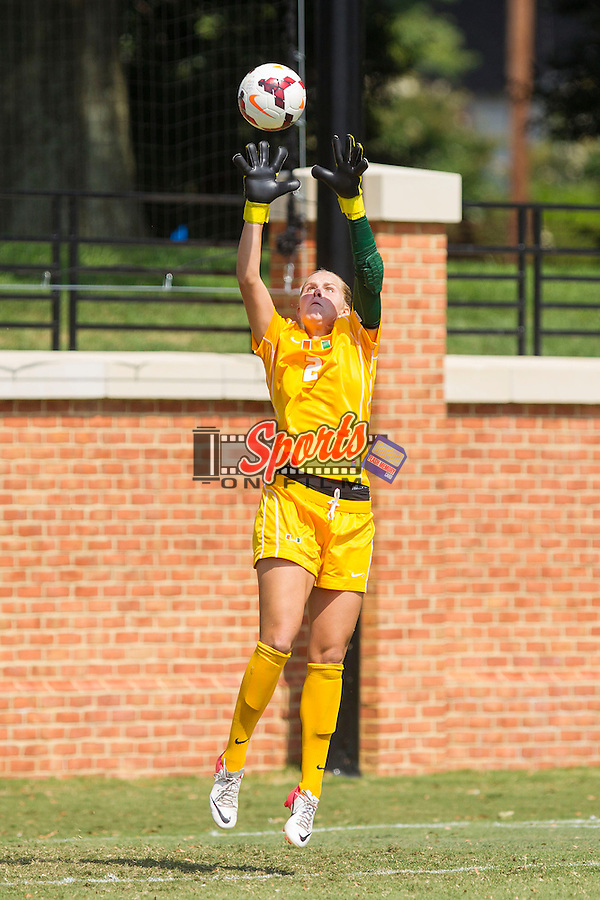 Miami Hurricanes goalie Emily Lillard (2) makes a save on a corner kick during second half action against the Wake Forest Demon Deacons at Spry Soccer Stadium on September 15, 2013 in Winston-Salem, North Carolina.  The Deacons defeated the Hurricanes 4-0.   (Brian Westerholt/Sports On Film)