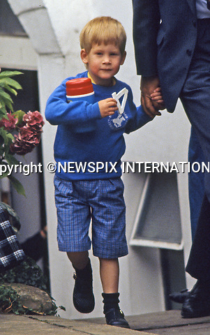 PRINCE HARRY_30 years on<br /> Prince Harry arrives to attend his first day at nursery school with Charles, Prince of Wales, Diana, Princess of Wales and his brother, Prince William on September 16, 1987 in London, England.<br /> Prince Harry celebrates his 30th birthday on the 15th of September 2014<br /> Mandatory Photo Credit: &copy;Dias/NEWSPIX INTERNATIONAL<br /> <br /> Mandatory credit photo:NEWSPIX INTERNATIONAL(Failure to credit will incur a surcharge of 100% of reproduction fees)<br /> <br /> **ALL FEES PAYABLE TO: &quot;NEWSPIX INTERNATIONAL&quot;**<br /> <br /> Newspix International, 31 Chinnery Hill, Bishop's Stortford, ENGLAND CM23 3PS<br /> Tel:+441279 324672<br /> Fax: +441279656877<br /> Mobile:  07775681153<br /> e-mail: info@newspixinternational.co.uk