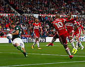 30th September 2017, Riverside Stadium, Middlesbrough, England; EFL Championship football, Middlesbrough versus Brentford; Martin Braithwaite of Middlesbrough  smashes in the equaliser in the 68th minute to make it 1-1
