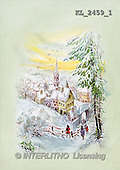 Interlitho, CHRISTMAS SANTA, SNOWMAN, nostalgic, paintings, village, people(KL2459/1,#X#) Weihnachten, nostalgisch, Navidad, nostálgico, illustrations, pinturas