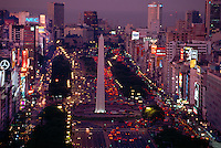 An overview of the Obelisco (The Obelisk) and the Avenida 9 de Julio at twilight, Buenos Aires, Argentina