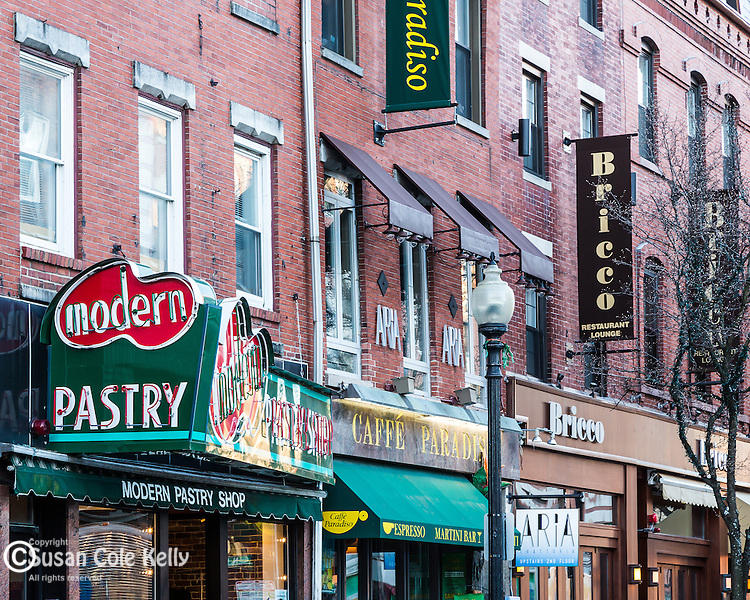 Restaurants and bakeries in the North End of Boston, Massachusetts, USA