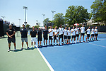 The Wake Forest Demon Deacons played host to the South Carolina Gamecocks during Round Two of the 2018 NCAA Men's Tennis Championship at the Wake Forest Tennis Center on May 13, 2018 in Winston-Salem, North Carolina.  The Demon Deacons defeated the Gamecocks 4-1.  (Brian Westerholt/Sports On Film)