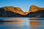Sunset light on the mountains above Hetch Hetchy Reservoir, Yosemite National Park, California
