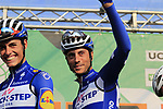 Enric Mas Nicolau (ESP) and Eros Capecchi (ITA) Quick-Step Floors at sign on before the start of the 112th edition of Il Lombardia 2018, the final monument of the season running 241km from Bergamo to Como, Lombardy, Italy. 13th October 2018.<br /> Picture: Eoin Clarke | Cyclefile<br /> <br /> <br /> All photos usage must carry mandatory copyright credit (© Cyclefile | Eoin Clarke)