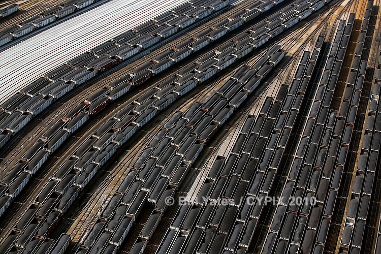 Norfolk Southern Railway's Lambert's Point coal pier on Hampton Roads at Norfolk, Virginia Helicopter aerial