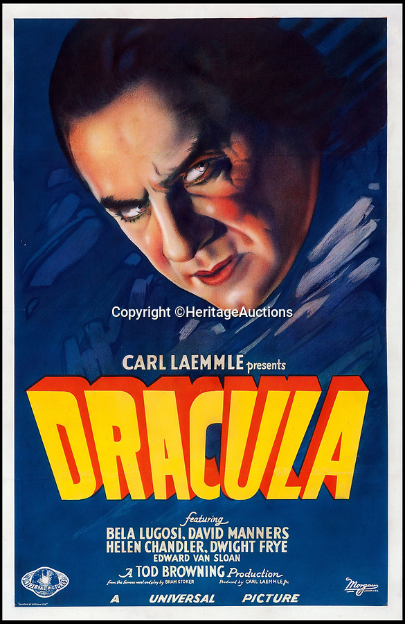 BNPS.co.uk (01202 558833)Pic: HeritageAuctions/BNPS<br /> <br /> A poster for the 1931 horror movie Dracula that was gifted to a young film buff 70 years ago has been sold by his family for a world record £400,000.<br /> <br /> The 41ins by 27ins advert is described as the 'holy grail' of movie posters and is just one of two left in the world.<br /> <br /> It belonged the late George Mitchell jr whose son, Arthur, hung it on the back of his bedroom door for several years as a child.<br /> <br /> After Arthur's parents died he and his brother James inherited the Dracula poster.