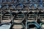Blue Fishing boats in Essaouira, Morocco