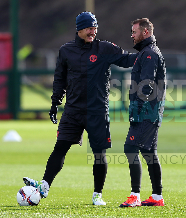 Bastian Schweinsteiger and Wayne Rooney of Manchester United during the UEFA Europa League training session at the AON Training Complex, Manchester. Picture date: November 23rd 2016. Pic Matt McNulty/Sportimage