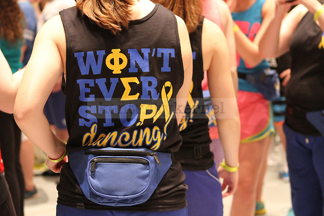 Dancers show their support with their gear during DanceBlue, the 24 hour dance marathon, at Memorial Coliseum Saturday February 23th, 2013. Photo by Kirsten Holliday | Staff