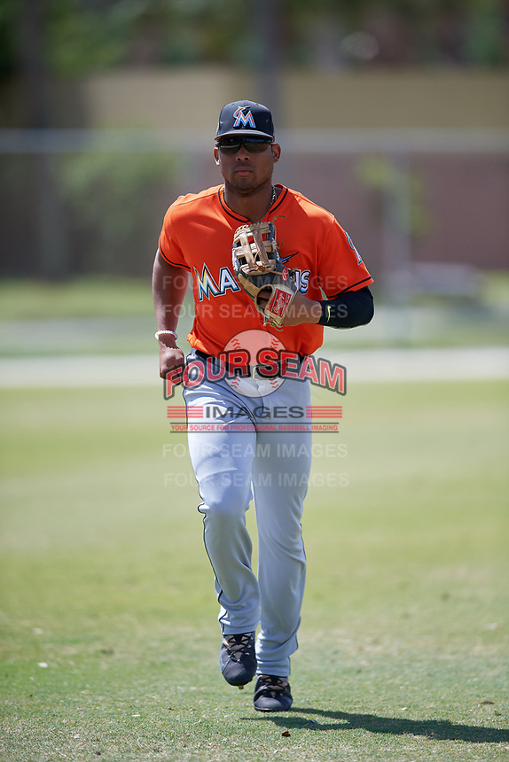 Miami Marlins John Norwood during a Minor League Spring Training Intrasquad game on March 27, 2018 at the Roger Dean Stadium Complex in Jupiter, Florida.  (Mike Janes/Four Seam Images)