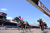 Fiddlers Afleet (no. 6), ridden by Alan Garcia and trained by David Jacobsen, wins the Clever Electrician Stakes for New York breeds who are three years old and upward on August 26, 2012 at Saratoga Race Track in Saratoga Springs, New York.  (Bob Mayberger/Eclipse Sportswire)