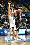 SALEM, VA - MARCH 17: Nebraska Wesleyan Prairie Wolves guard Nate Schimonitz (10) drives to basket defended by Wisconsin-Oshkosh Titans guard Charlie Noone (0) during the Division III Men's Basketball Championship held at the Salem Civic Center on March 17, 2018 in Salem, Virginia. Nebraska Wesleyen defeated Wisconsin-Oshkosh 78-72 for the national title. (Photo by Andres Alonso/NCAA Photos/NCAA Photos via Getty Images)