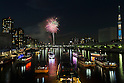 Fireworks light up the sky over Sumida River in Tokyo during The 38th Sumida River Fireworks Festival on July 25, 2015, Tokyo, Japan. Some 20 thousand fireworks were released along the Sumida River. The organizers and police estimated that about 960 thousand people visited the event. (Photo by Rodrigo Reyes Marin/AFLO)