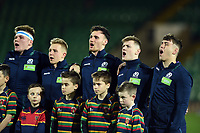The Scotland U20 sing their national anthem. U20 Six Nations match, between England U20 and Scotland U20 on March 15, 2019 at Franklin's Gardens in Northampton, England. Photo by: Patrick Khachfe / JMP