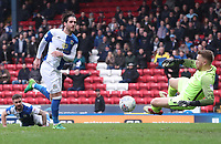 Blackburn Rovers' Danny Graham forces a save from Southend United's Mark Oxley<br /> <br /> Photographer Rachel Holborn/CameraSport<br /> <br /> The EFL Sky Bet League One - Blackburn Rovers v Southend United - Saturday 7th April 2018 - Ewood Park - Blackburn<br /> <br /> World Copyright &copy; 2018 CameraSport. All rights reserved. 43 Linden Ave. Countesthorpe. Leicester. England. LE8 5PG - Tel: +44 (0) 116 277 4147 - admin@camerasport.com - www.camerasport.com