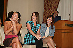Melissa Claire Egan, Bobbie Eakes and Brittany Allen in awe of Daniel Kennedy who studied at Julliard sings for all an opera piece at the All My Children Fan Luncheon on September 13, 2009 at the New York Helmsley Hotel, NYC, NY. (Photo by Sue Coflin/Max Photos)