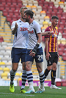 Preston North End's Tom Barkhuizen celebrates scoring his team's 2nd goal<br /> <br /> Photographer Dave Howarth/CameraSport<br /> <br /> The Carabao Cup First Round - Bradford City v Preston North End - Tuesday 13th August 2019 - Valley Parade - Bradford<br />  <br /> World Copyright © 2019 CameraSport. All rights reserved. 43 Linden Ave. Countesthorpe. Leicester. England. LE8 5PG - Tel: +44 (0) 116 277 4147 - admin@camerasport.com - www.camerasport.com