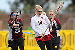 Santa Barbara, CA 02/19/11 - Amanda Rost (Stanford #18) and Alyssa Boos (Minnesota-Duluth #25) in action during the Stanford - Minnesota-Duluth game at the 2011 Santa Barbara Shootout.