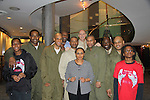 Brenda (organized DC gala and play) and kids with Cast L to R - Lamman Rucker, Thom Scott II, David Boykins, Layon Gray, David Roberts, Melvin Huffnagle - Back Row: Thaddeus Daniels & Steve Brustien - Layon Gray's Black Angels Over Tuskegee was performed on February 25, 2011 at the United States Memorial in Washington, DC to celebrate Black History Month. (Photo by Sue Coflin/Max Photos)