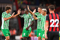 Real Betis players celebrate after scoring the second goal during AFC Bournemouth vs Real Betis, Friendly Match Football at the Vitality Stadium on 3rd August 2018