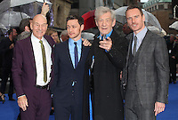 Patrick Stewart, James McAvoy, Sir Ian McKellen and Michael Fassbender arriving the UK Premiere of 'X-Men: Days of Future Past' at Odeon Leicester Square, London. 12/05/2014 Picture by: Alexandra Glen / Featureflash