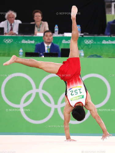 Kenzo Shirai (JPN), <br /> AUGUST 8, 2016 - Artistic Gymnastics : <br /> Men's Final  <br /> Floor Exercise <br /> at Rio Olympic Arena <br /> during the Rio 2016 Olympic Games in Rio de Janeiro, Brazil. <br /> (Photo by Sho Tamura/AFLO SPORT)