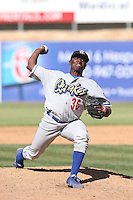 Jharel Cotton #36 of the Rancho Cucamonga Quakes pitches against the High Desert Mavericks at Stater Bros. Stadium on May 27, 2014 in Adelanto, California. High Desert defeated Rancho Cucamonga, 5-4. (Larry Goren/Four Seam Images)