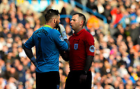 Referee Tim Robinson has a word with Sheffield Wednesday's Keiren Westwood<br /> <br /> Photographer Alex Dodd/CameraSport<br /> <br /> The EFL Sky Bet Championship - Leeds United v Sheffield Wednesday - Saturday 13th April 2019 - Elland Road - Leeds<br /> <br /> World Copyright © 2019 CameraSport. All rights reserved. 43 Linden Ave. Countesthorpe. Leicester. England. LE8 5PG - Tel: +44 (0) 116 277 4147 - admin@camerasport.com - www.camerasport.com