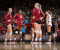 STANFORD, CA - November 3, 2018: Kathryn Plummer, Jenna Gray, Courtney Bowen, Morgan Hentz at Maples Pavilion. No. 1 Stanford Cardinal defeated No. 15 Colorado Buffaloes 3-2.