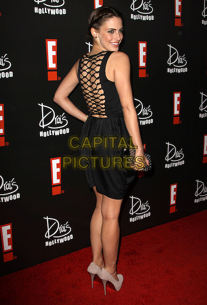 JESSICA LOWNDES .E! Oscar Viewing And After Party held At Drai's at The W Hotel, Hollywood, California, USA..March 7th, 2010.full length dress hand on hip black clutch bag net netting backless looking over shoulder .CAP/ADM/KB.©Kevan Brooks/AdMedia/Capital Pictures.
