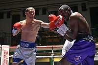 Michael Fonseca (white/blue shorts) defeats Richard Samuels during a Boxing Show at York Hall on 6th October 2018