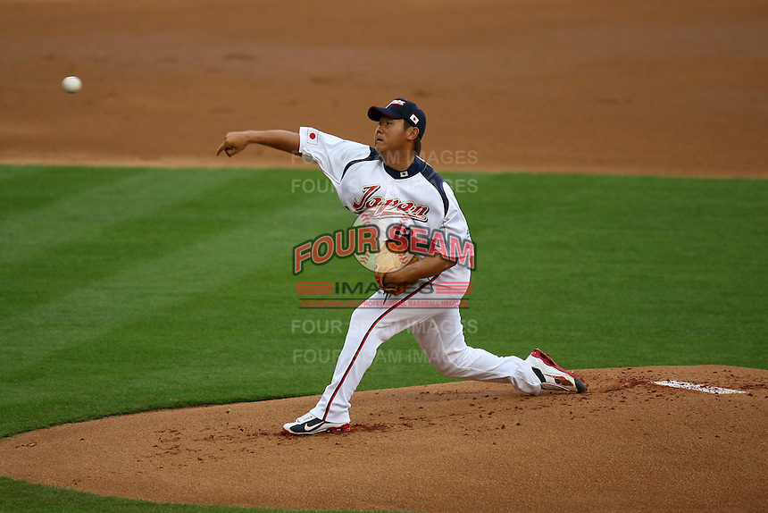 Daisuke Matsuzaka of Japan during a game against the United States at the World Baseball Classic at Dodger Stadium on March 22, 2009 in Los Angeles, California. (Larry Goren/Four Seam Images)