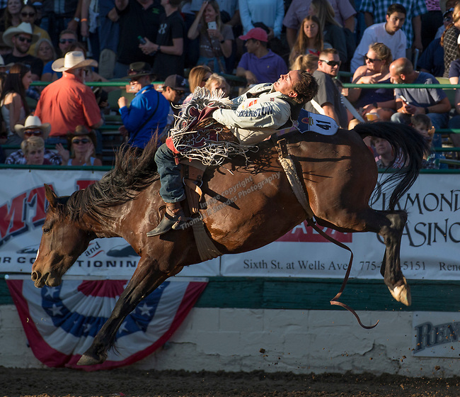 Clayton Biglow rides in the Bareback Bronc Riding event during the Reno Rodeo on Sunday, June 23, 2019.