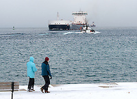 On a weekly walk Joelle Bambachi and Anne Robichaud, of Sarnia, walk along the St. Clair River Front Trail in Point Edward watching passing ships on Lake Huron.