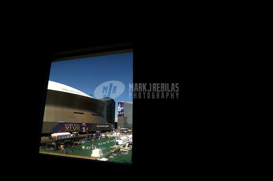 Feb 3, 2013; New Orleans, LA, USA; Exterior view of Mercedes-Benz Superdome prior to Super Bowl XLVII between the Baltimore Ravens against San Francisco 49ers. Mandatory Credit: Mark J. Rebilask-