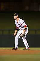 Salt River Rafters second baseman Carter Kieboom (24), of the Washington Nationals organization, during an Arizona Fall League game against the Scottsdale Scorpions at Salt River Fields at Talking Stick on October 11, 2018 in Scottsdale, Arizona. Salt River defeated Scottsdale 7-6. (Zachary Lucy/Four Seam Images)