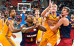 Herbalife Gran Canaria's player Richard Hendrix and FC Barcelona Lassa player Joey Dorsey and Justin Dolman during the final of Supercopa of Liga Endesa Madrid. September 24, Spain. 2016. (ALTERPHOTOS/BorjaB.Hojas)