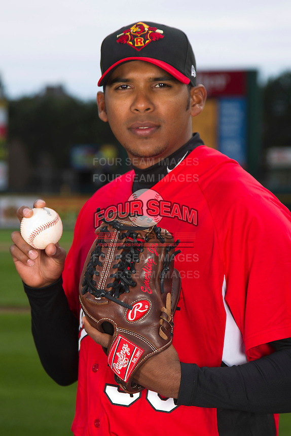 Rochester Red Wings pitcher Esmerling Vasquez #38 poses for a photo during media day at Frontier Field on April 3, 2012 in Rochester, New York.  (Mike Janes/Four Seam Images)