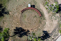 Aerial view of the roundabout or rodeo area of the village Esqueda Sonora, Mexico. Esqueda is a town in the municipality of Fronteras located in the north of the Mexican state of Sonora, in the region of the Sierra Madre Occidental. The town is the most inhabited town in the municipality even more than the municipal seat, the town of Fronteras. (Photo: LuisGutierrez / NortePhoto).. <br /> Vista Aérea del redondel o area de rodeo o jaripeo de el pueblo Esqueda Sonora, Mexico. Esqueda es un pueblo del municipio de Fronteras ubicado en el norte del estado mexicano de Sonora, en la región de la Sierra Madre Occidental. El pueblo es la localidad más habitada del municipio incluso más que la cabecera municipal, el pueblo de Fronteras.  (Photo:LuisGutierrez/NortePhoto)