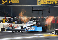Feb 10, 2017; Pomona, CA, USA; NHRA top fuel driver Steve Chrisman during qualifying for the Winternationals at Auto Club Raceway at Pomona. Mandatory Credit: Mark J. Rebilas-USA TODAY Sports
