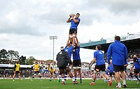 Charlie Ewels of Bath Rugby wins the ball at a lineout during the pre-match warm-up. West Country Challenge Cup match, between Gloucester Rugby and Bath Rugby on September 13, 2015 at the Memorial Stadium in Bristol, England. Photo by: Patrick Khachfe / Onside Images