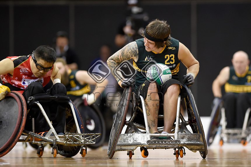 Jayden Warn (AUS) vs Japan<br /> Australian Wheelchair Rugby Team<br /> 2018 IWRF WheelChair Rugby <br /> World Championship / Finals<br /> Sydney  NSW Australia<br /> Friday 10th August 2018<br /> © Sport the library / Jeff Crow / APC