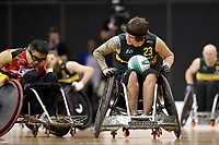 Jayden Warn (AUS) vs Japan<br /> Australian Wheelchair Rugby Team<br /> 2018 IWRF WheelChair Rugby <br /> World Championship / Finals<br /> Sydney  NSW Australia<br /> Friday 10th August 2018<br /> &copy; Sport the library / Jeff Crow / APC