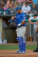 Keibert Ruiz (33) of the Oklahoma City Dodgers during the game against the Salt Lake Bees at Smith's Ballpark on August 1, 2019 in Salt Lake City, Utah. The Bees defeated the Dodgers 14-4. (Stephen Smith/Four Seam Images)