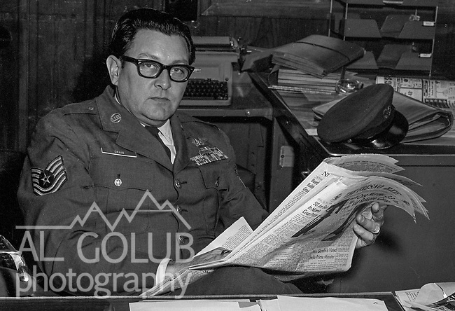 T/sgt Craig reads Fresno Bee<br /> <br /> March 1964: CAFB, California<br /> Staff of the Valley Bomber, 93rd Bomb Wing, Directory of Information, SAC<br /> Photo by Al Golub/Golub Photography<br /> <br /> Castle is named for Brigadier General Frederick W. Castle, who died on Dec. 24, 1944 flying his 30th bombing mission. He died leading an armada of 2000 B-17s on a strike against German airfields. On the way to the target, an engine failure over Liege, Belgium caused his bomber to fall behind, where it was attacked by Germans and caught fire. He ordered his men to bail out but stayed alone at the controls of the flaming Flying Fortress until it crashed. The entire crew, except Gen. Castle and one airman killed before the bailout order, survived. Gen. Castle received a Medal of Honor posthumously for his bravery.<br /> <br /> Castle became home to the 93rd Bombardment Wing in 1947. Aircraft stationed at Castle included B-29, B-17 and C-54 aircraft, with B-50 bombers arriving in 1949. In 1954, B-47 bombers arrived.  On June 29, 1955, Castle received the Air Force's first B-52. These heavy bombers can hold the equivalent of three railroad cars' worth of fuel. The first Air Force KC-135 jet tanker arrived May 18, 1957<br /> <br /> Castle was selected for closure under the Defense Base Closure and Realignment Act of 1990 during Round II Base Closure Commission deliberations (BRAC 91). The last of the B-52s left the base in 1994, followed by the departure of the last of the KC-135s in early 1995. The base closed September 30, 1995.
